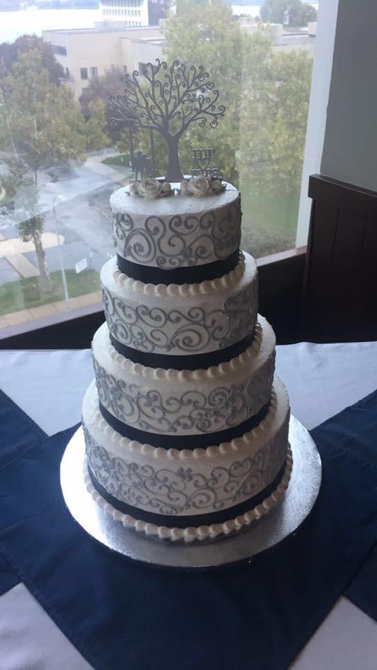 Modern 4 Tier Buttercream Cake Silver Navy Swirls